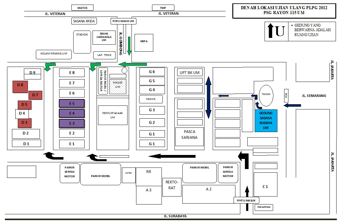 Denah Lokasi Ujian Ulang PLPG 2012 Rayon 115 UM